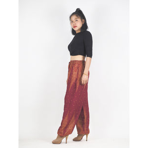 Peacock Feather Dream Unisex Drawstring Genie Pants in Red PP0110 020015 01
