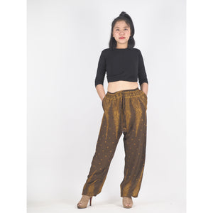 Peacock Feather Dream Unisex Drawstring Genie Pants in Brown PP0110 020015 08