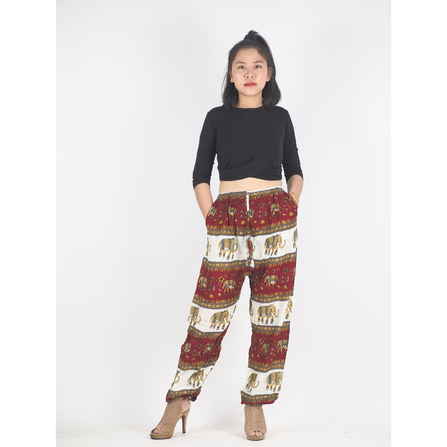Royal Elephant Unisex Drawstring Genie Pants in Dark Red PP0110 020024 04