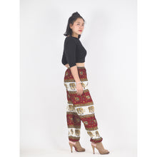 Load image into Gallery viewer, Royal Elephant Unisex Drawstring Genie Pants in Dark Red PP0110 020024 04