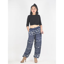 Load image into Gallery viewer, Sunflower elephant Unisex Drawstring Genie Pants in Navy PP0110 020025 07