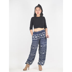 Sunflower elephant Unisex Drawstring Genie Pants in Navy PP0110 020025 07