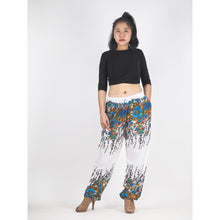Load image into Gallery viewer, Flowers Unisex Drawstring Genie Pants in Navy Blue PP0110 020045 01