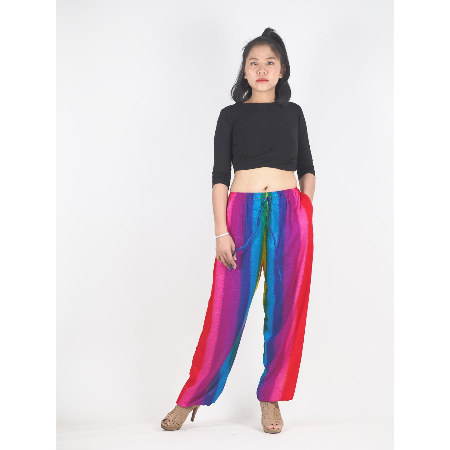 Rainbow Unisex Drawstring Genie Pants in Rainbow PP0110 020046 01