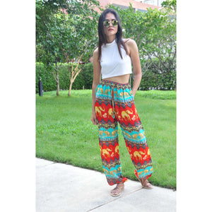 Indian elephant Unisex Drawstring Genie Pants in Red PP0110 020056 03