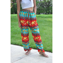 Load image into Gallery viewer, Indian elephant Unisex Drawstring Genie Pants in Red PP0110 020056 03