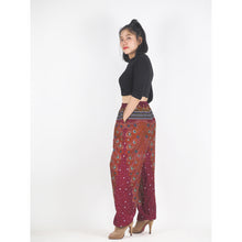 Load image into Gallery viewer, Peacock Heaven Unisex Drawstring Genie Pants in Red PP0110 020058 02