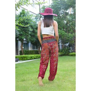 Peacock Heaven Unisex Drawstring Genie Pants in Red PP0110 020058 02