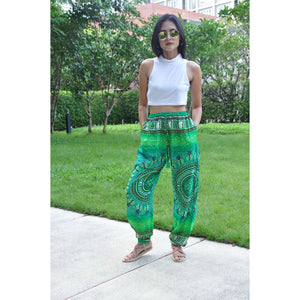 Tribal dashiki Unisex Drawstring Genie Pants in Green PP0110 020060 02