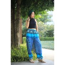 Load image into Gallery viewer, Tribal dashiki Unisex Drawstring Genie Pants in Blue PP0110 020060 04