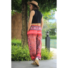 Load image into Gallery viewer, Tribal dashiki Unisex Drawstring Genie Pants in Red PP0110 020060 05
