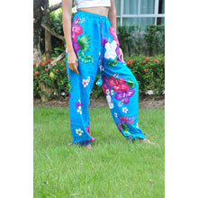 Load image into Gallery viewer, Painted flower Unisex Drawstring Genie Pants in Blue PP0110 020062 03