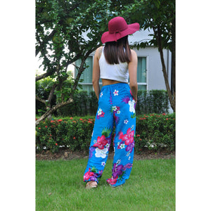 Painted flower Unisex Drawstring Genie Pants in Blue PP0110 020062 03