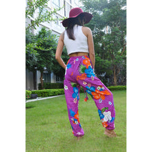 Load image into Gallery viewer, Painted flower Unisex Drawstring Genie Pants in Purple PP0110 020062 04