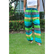 Load image into Gallery viewer, Funny Stripes Unisex Drawstring Genie Pants in Green PP0110 020063 02