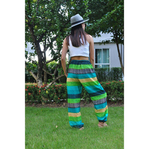 Funny Stripes Unisex Drawstring Genie Pants in Green PP0110 020063 02