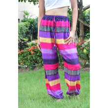 Load image into Gallery viewer, Funny Stripes Unisex Drawstring Genie Pants in Purple PP0110 020063 06