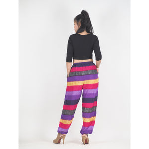 Funny Stripes Unisex Drawstring Genie Pants in Purple PP0110 020063 06