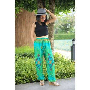 Big eye Unisex Drawstring Genie Pants in Green PP0110 020065 05