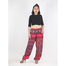 Load image into Gallery viewer, Tribal dashiki Unisex Drawstring Genie Pants in Red PP0110 020066 04
