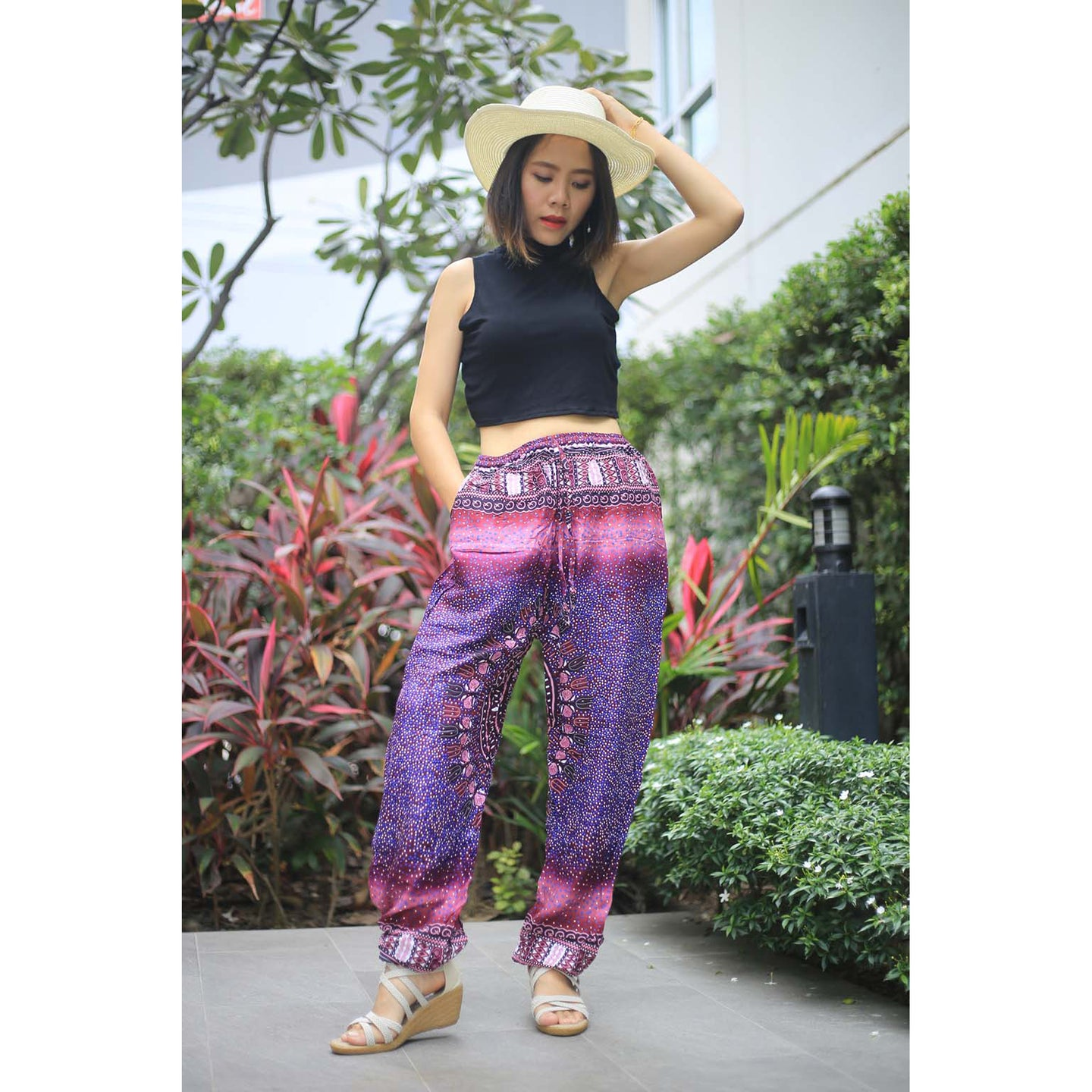 Tribal dashiki Unisex Drawstring Genie Pants in Purple PP0110 020066 06