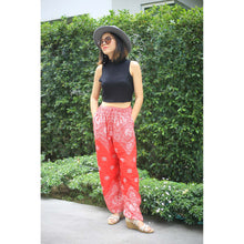 Load image into Gallery viewer, Flower drops Unisex Drawstring Genie Pants in Red PP0110 020070 05