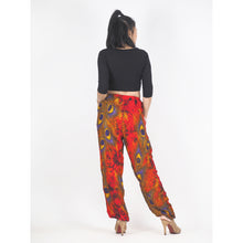 Load image into Gallery viewer, Wild feathers Unisex Drawstring Genie Pants in Red PP0110 020073 04
