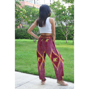 Diamond Elephant Unisex Drawstring Genie Pants in Red PP0110 020079 02