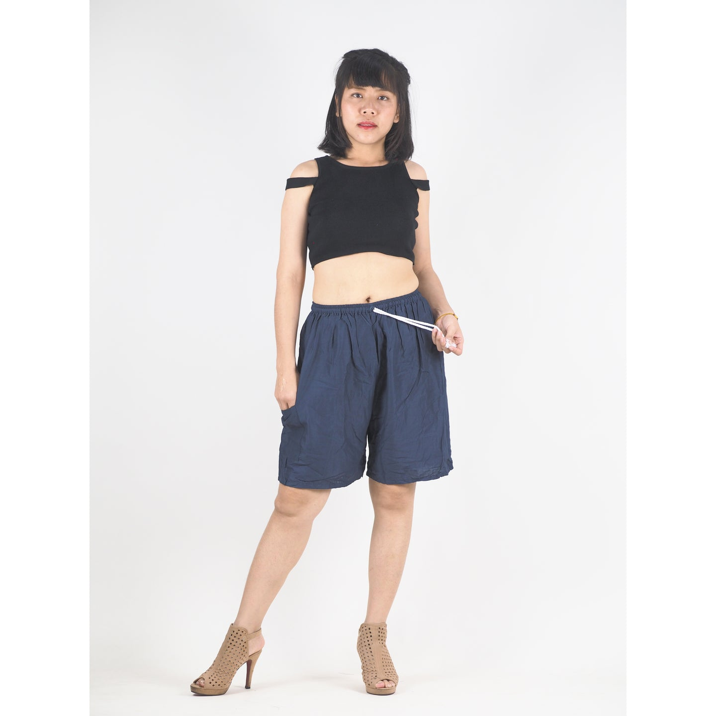 Solid Color Unisex Bermuda Pants in Navy Blue PP0139 020000 03
