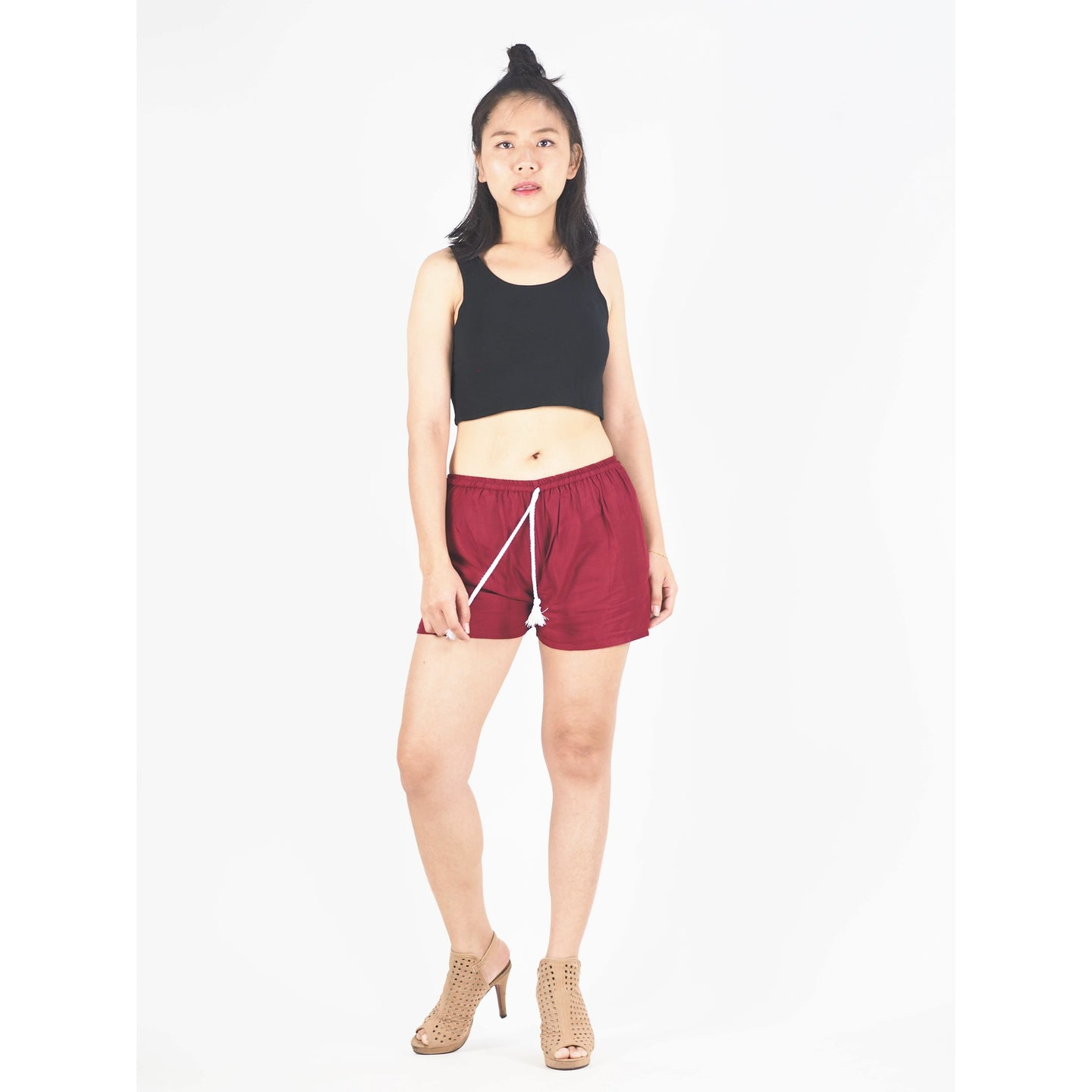 Solid Color Women's Shorts Drawstring Genie Pants in Burgundy PP0142 020000 15
