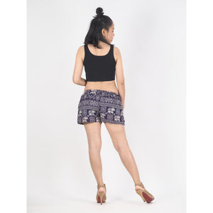 African Elephant Women's Shorts Drawstring Genie Pants in Purple PP0142 020004 02