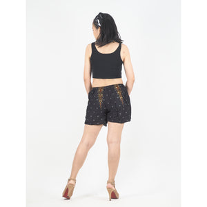 Peacock Women's Shorts Drawstring Genie Pants in Balck Gold PP0142 020007 04