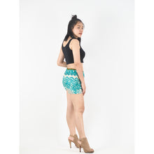 Load image into Gallery viewer, 2 Tone Mandala Women's Shorts Drawstring Genie Pants in Ocean Green PP0142 020032 06