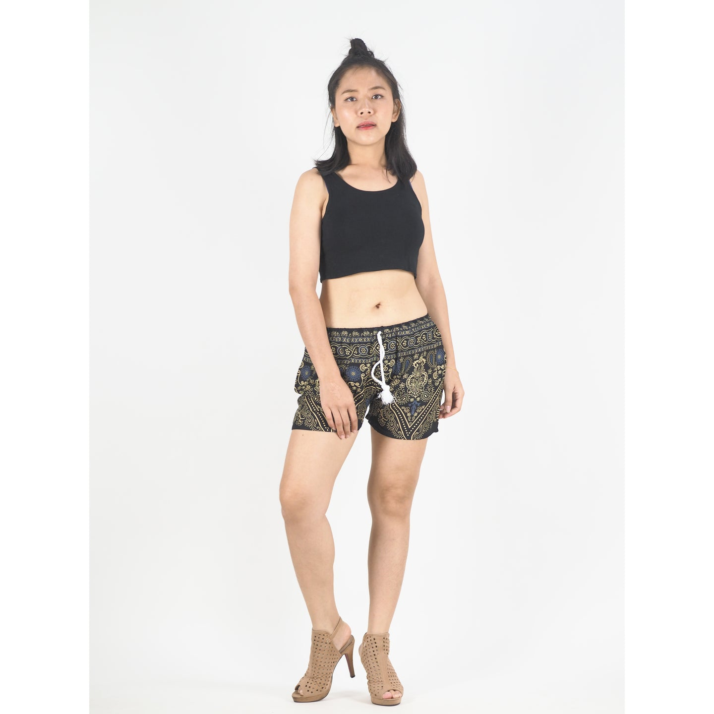 Temple Flower Women's Shorts Drawstring Genie Pants in Navy Blue PP0142 020159 04