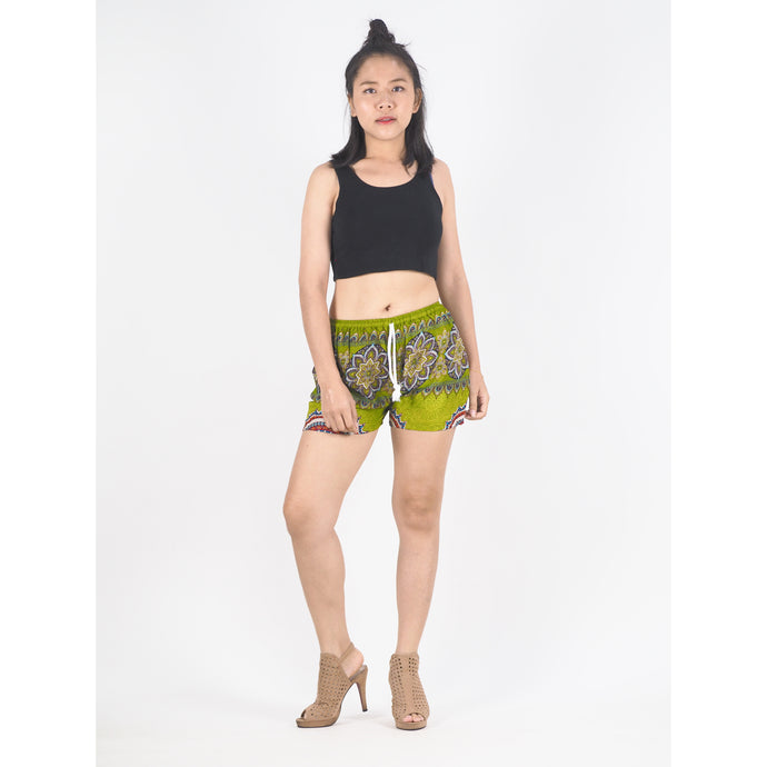 Mandala Women's Shorts Drawstring Genie Pants in Green PP0142 020179 03