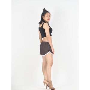 Solid Color Women's Pompom Shorts Pants in Dark Brown PP0228 020000 16