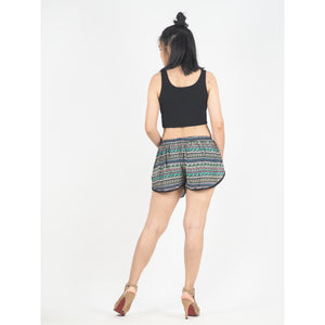 Colorful Stripes Women's Mini Pompom Shorts Pants in Green PP0228 020006 02