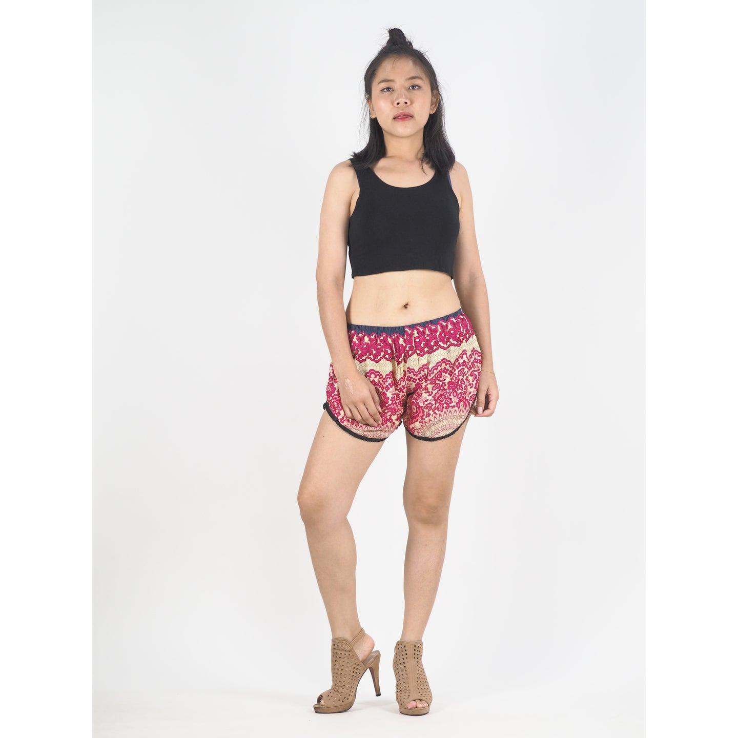 Tone Mandala Women's Mini Pompom Shorts Pants in Pink PP0228 020032 05
