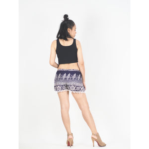 Urban Print Women's Wrap PomPom Shorts Pants in Purple PP0147 020001 03