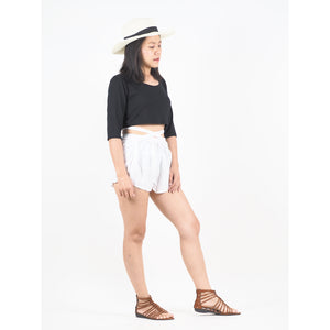 Solid Color Women's Blooming Shorts Pants in White PP0206 020000 04
