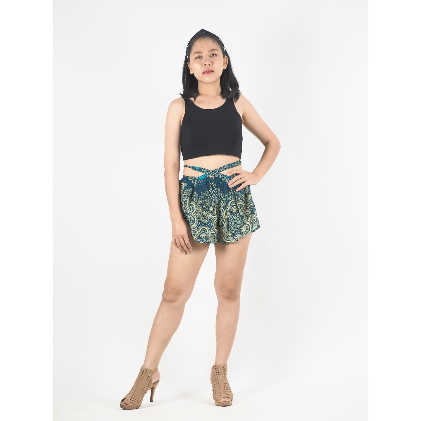 Temple Flower Women's Blooming Shorts Pants in Ocean Blue PP0206 020159 01
