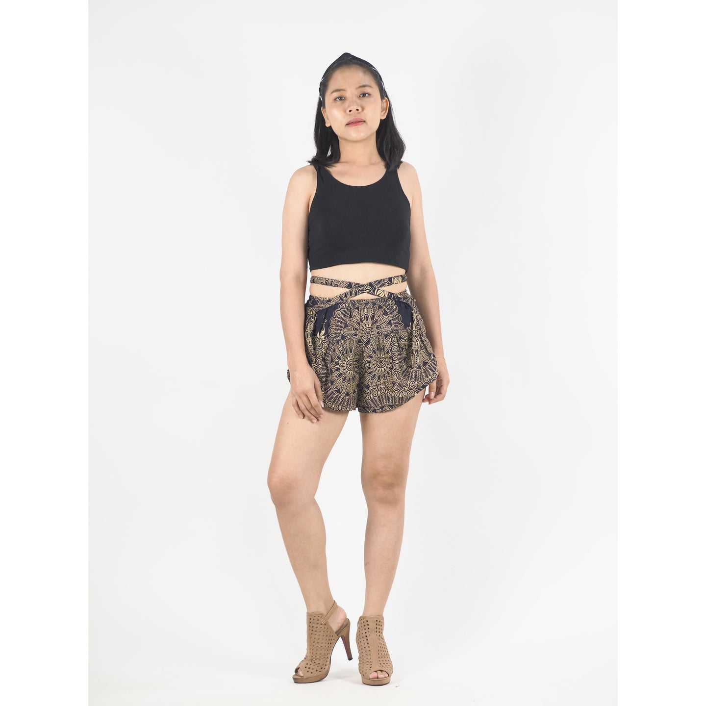 Mandala Women's Blooming Shorts Pants in Navy PP0206 020170 01