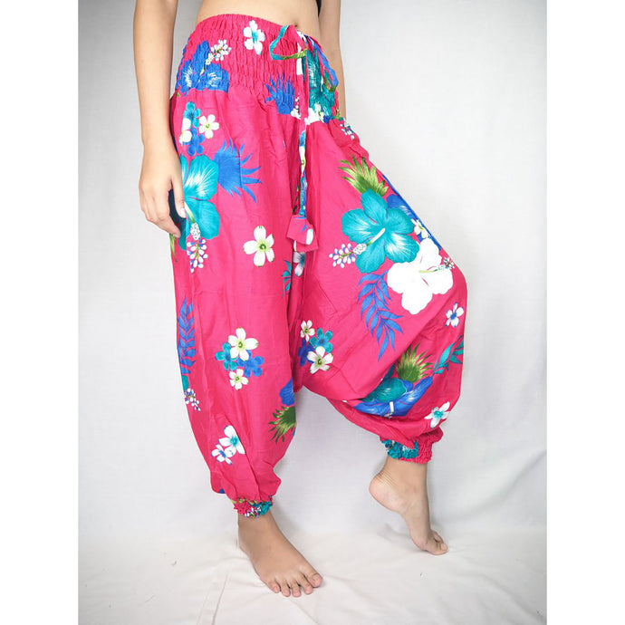 Painted flower  Unisex Aladdin drop crotch pants in Pink PP0056 020062 05