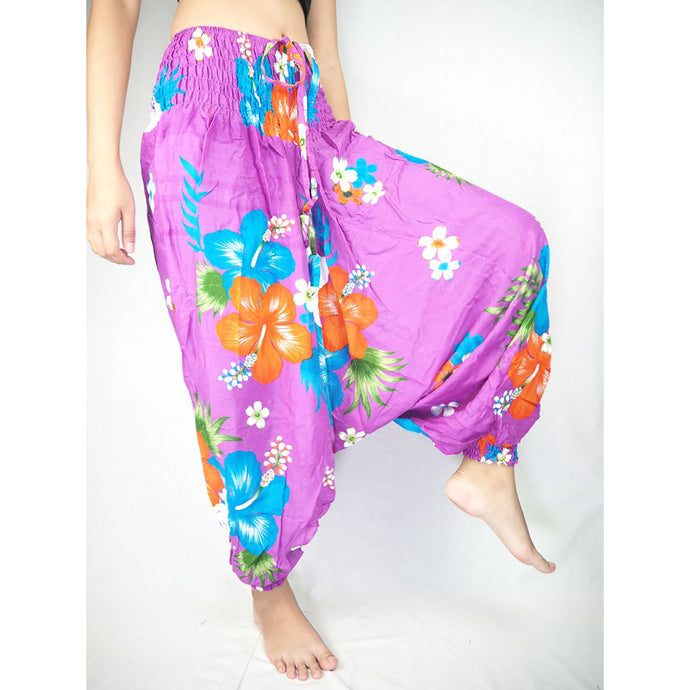 Painted flower  Unisex Aladdin drop crotch pants in Purple PP0056 020062 04