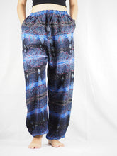 Load image into Gallery viewer, Paisley Buddha Unisex Drawstring Genie Pants in Navy blue PP0110 020002 01