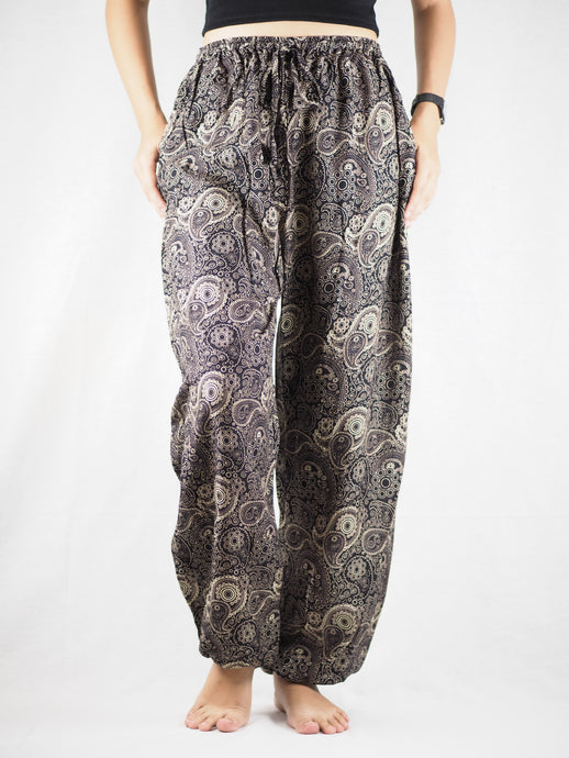 Paisley Mistery Unisex Drawstring Genie Pants in Black Gold PP0110 020016 10