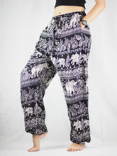 Load image into Gallery viewer, Paisley elephants Unisex Drawstring Genie Pants in Black PP0110 020022 01