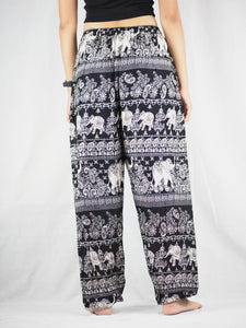 Paisley elephants Unisex Drawstring Genie Pants in Black PP0110 020022 01