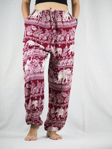 Paisley elephants Unisex Drawstring Genie Pants in Dark Red PP0110 020022 02