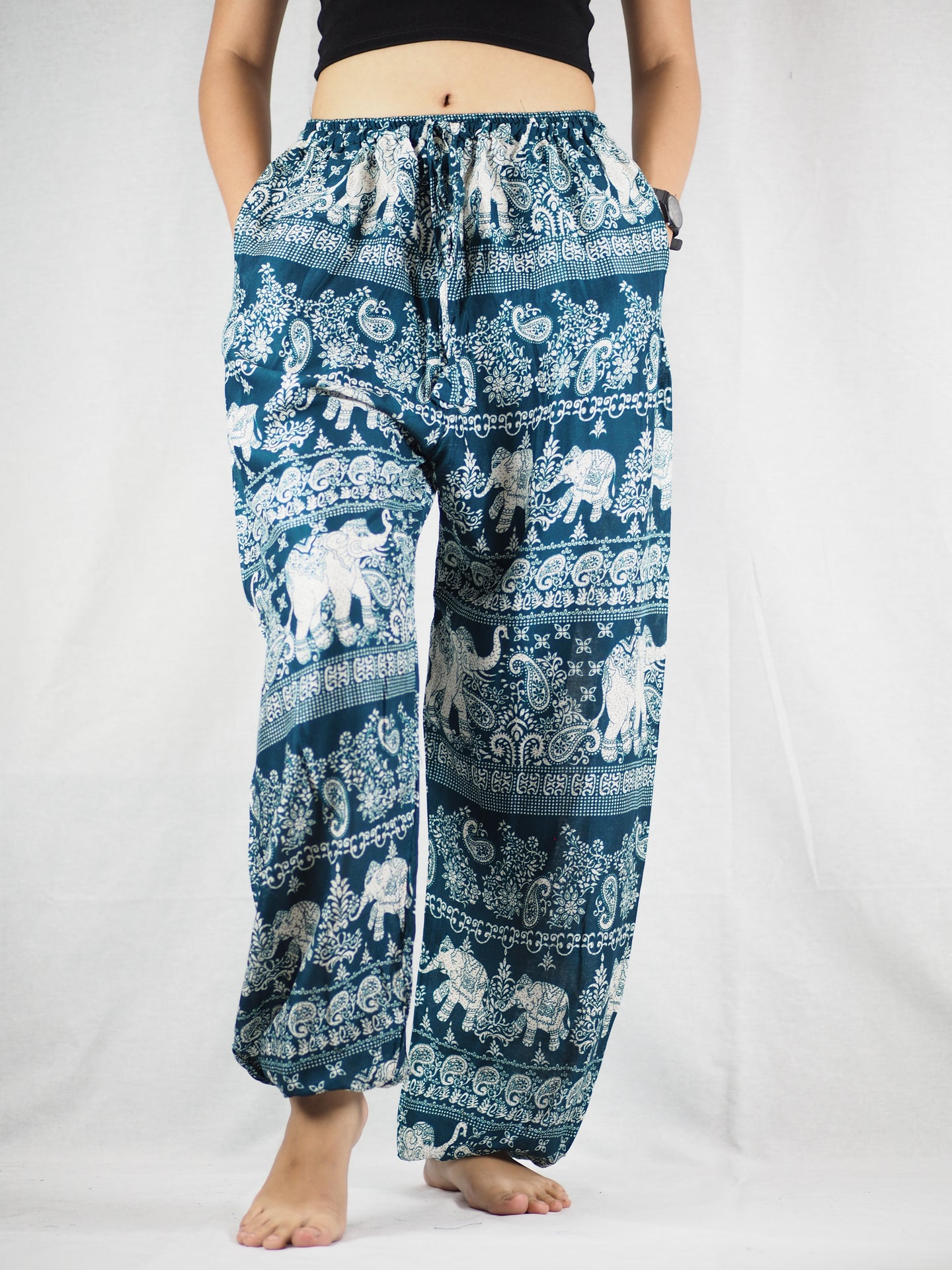 Paisley elephants Unisex Drawstring Genie Pants in Green PP0110 020022 05